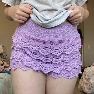 Purple Shorts Lace Fabric